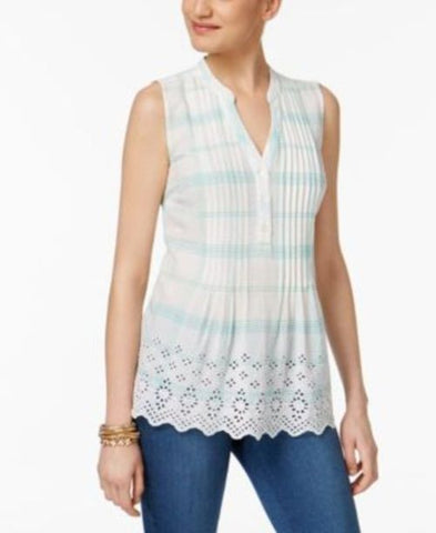 Style & Co Cotton Eyelet-Embroidered Pleated Top #566 size XL
