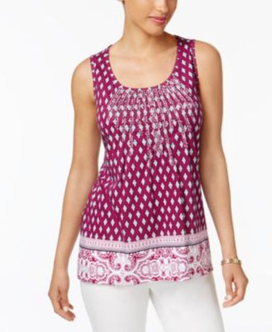 Charter Club Printed Embroidered Top #688 size M
