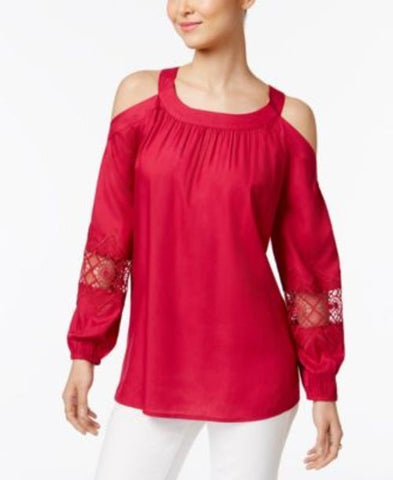 Style & Co. Cold-Shoulder Crochet-Trim Top #670 size XL