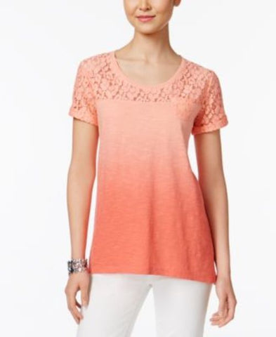 Style & Co Lace-Yoke Ombre Top #553 size XS