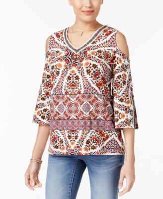 Style & Co Cold-Shoulder Embroidered-Trim Top #674 size L