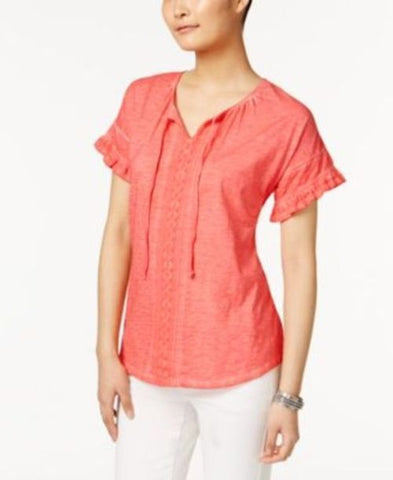 Style & Co Cotton Ruffled Peasant Top #550 size L