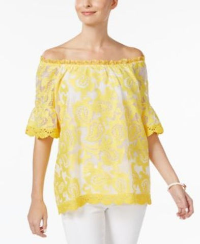 Charter Club Lantern-Sleeve Lace Top #631 size M