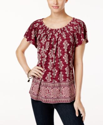 Style & Co Printed Pleat-Neck Top #491 size XL
