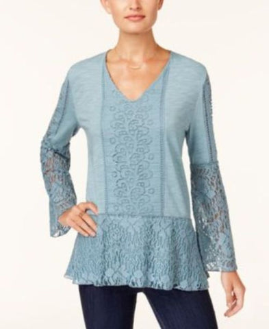 Style & Co Lace Bell-Sleeve Top #242 size S