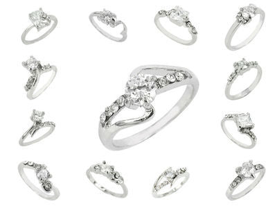 96 X White Gold Plated Rings Cubic Zirconia Lot
