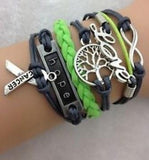 120 X Fashion Leather Bracelets with words. Friendship, Love and more