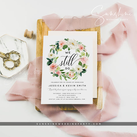 Blush Floral Vow Renewal Invitation Template