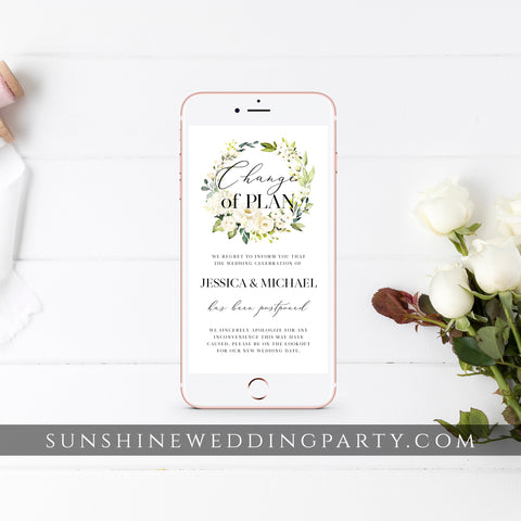 FLORAL POSTPONED WEDDING DATE TEMPLATE