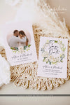White Floral Photo Save the Date Template