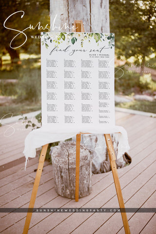 White Floral Wedding Alphabetical Seating Chart Template