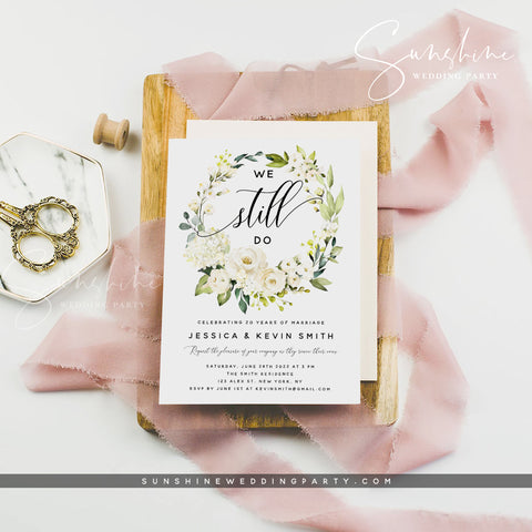 White Floral Vow Renewal Invitation Template