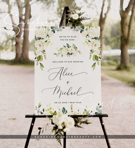 White Floral Wedding Welcome Sign Template