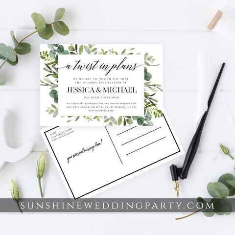 GREENERY POSTPONED WEDDING DATE POSTCARD TEMPLATE