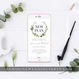 GREENERY WEDDING POSTPONED ANNOUNCEMENT TEMPLATE