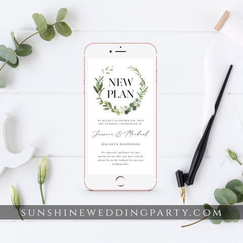 GREENERY POSTPONED WEDDING DATE TEMPLATE