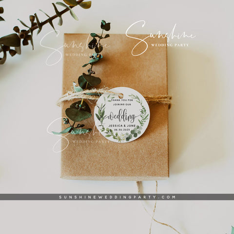 Eucalyptus Greenery Round Label Favor Tag Template