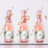 Eucalyptus Greenery Mini Champagne Bottle Label Template