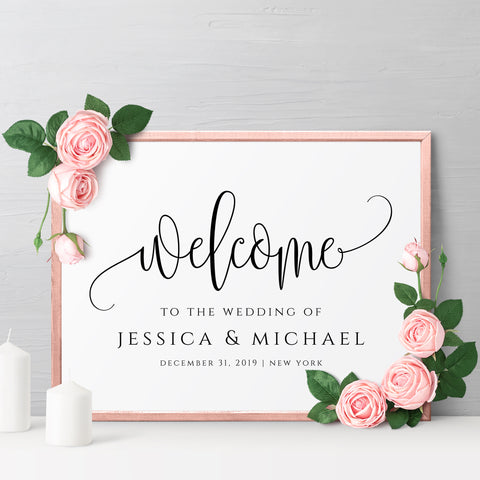 Wedding Welcome Sign Template, Rustic