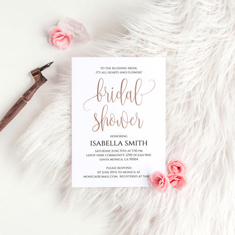 Bridal Shower Invitation Template, Rose Gold Foil
