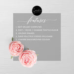 Wedding Hand Sanitizer Labels, Blush Pink Floral