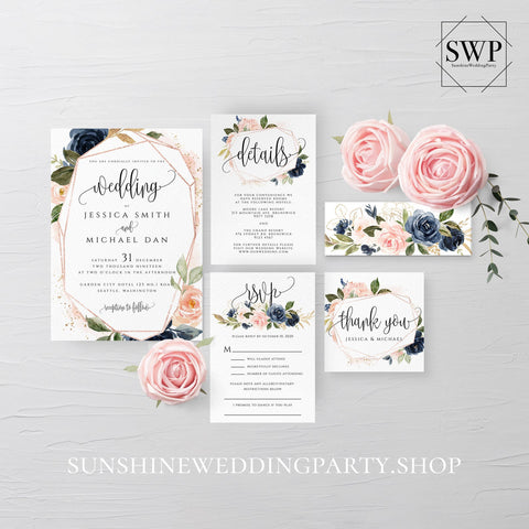 Navy Blush Floral Wedding Invitation Suite Template