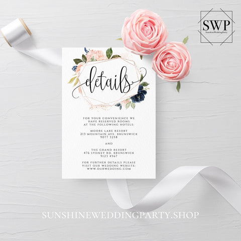 Navy Blush Floral Wedding Details Template