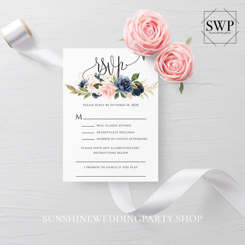 Navy Blush Floral Wedding RSVP Template