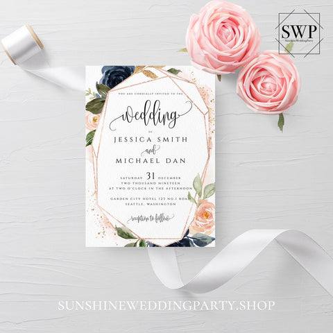 Navy Blush Floral Wedding Invitation Template