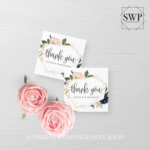 Navy Blush Floral Wedding Tag Template