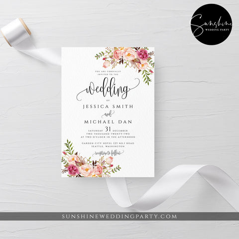 Marsala Red Pink Floral Wedding Invitation Template