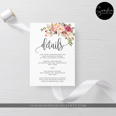 Marsala Red Pink Floral Wedding Details Template