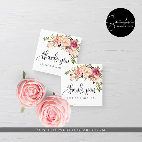 Marsala Wedding Thank You Tag Template