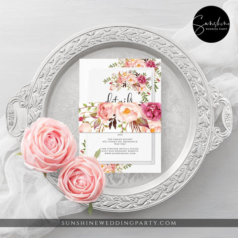 Marsala Red Pink Floral Wedding Bellyband Template