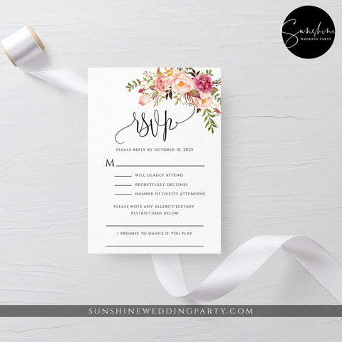 Marsala Wedding RSVP Template