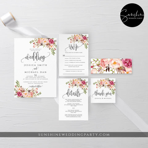 Marsala Red Pink Floral Wedding Invitation Suite Template