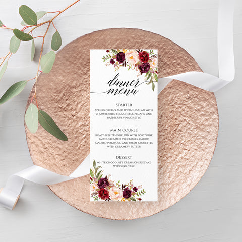 Marsala Red Floral Wedding Menu Template