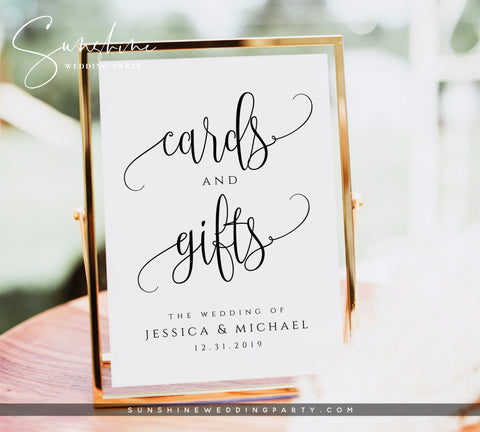 Wedding Cards and Gifts Sign Template