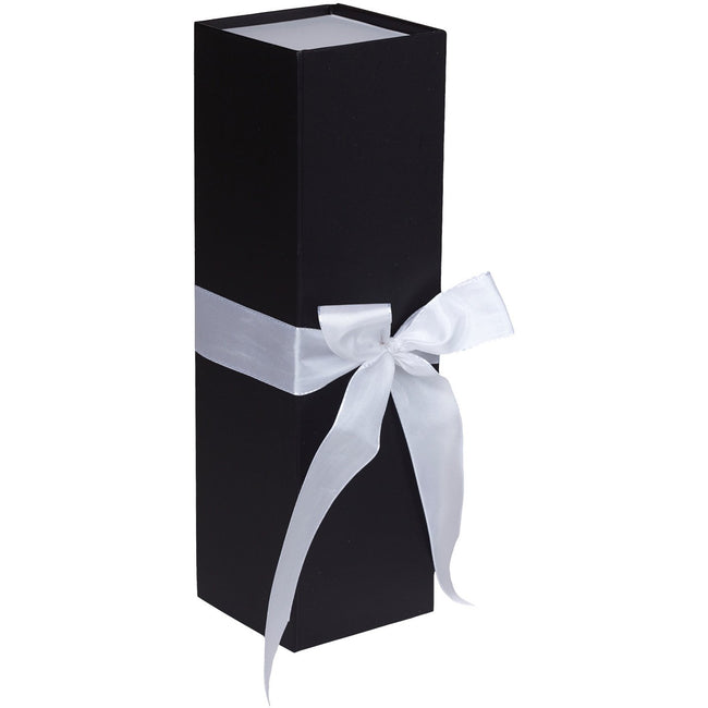 Jillson & Roberts Bottle Gift Box with Ribbon Tie, Sophisticate Black Matte (12 Pcs) - Present Paper