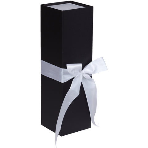 Jillson & Roberts Bottle Gift Box with Ribbon Tie, Sophisticate White Matte (12 Pcs)