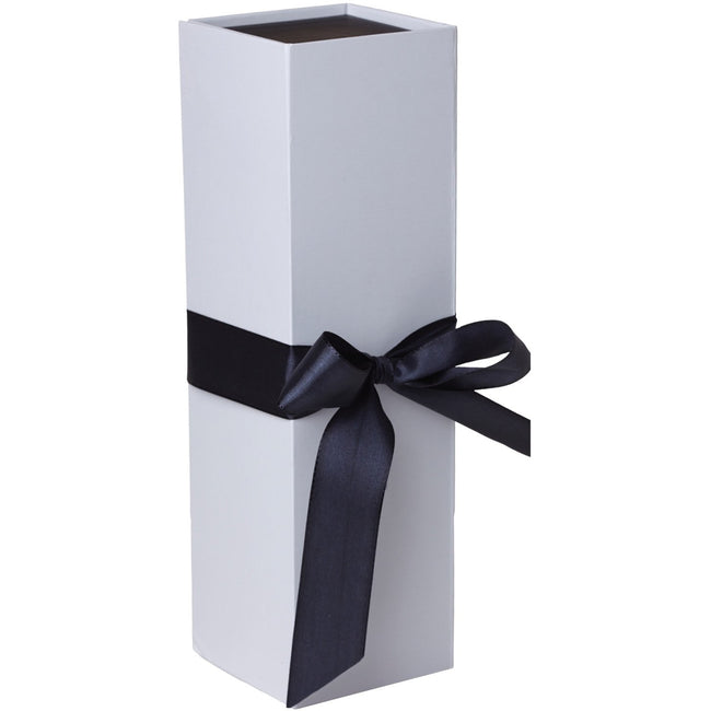 Jillson & Roberts Bottle Gift Box with Ribbon Tie, Sophisticate White Matte (12 Pcs) - Present Paper
