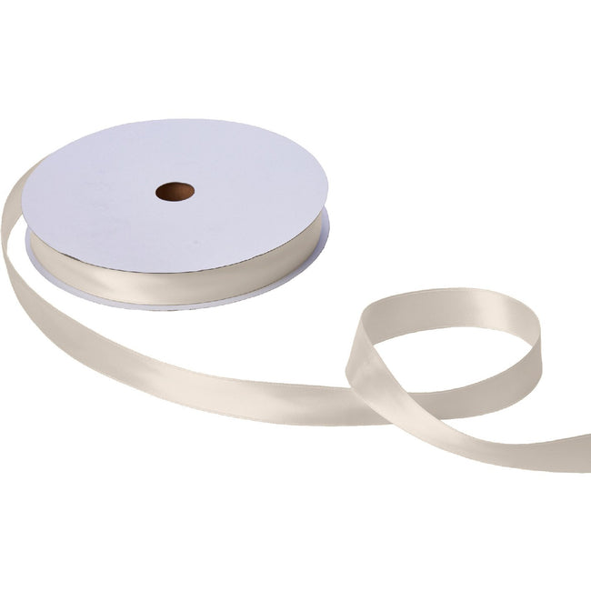 "Jillson & Roberts Double-Faced Satin Ribbon, 1"" Wide x 100 Yards, Ivory"