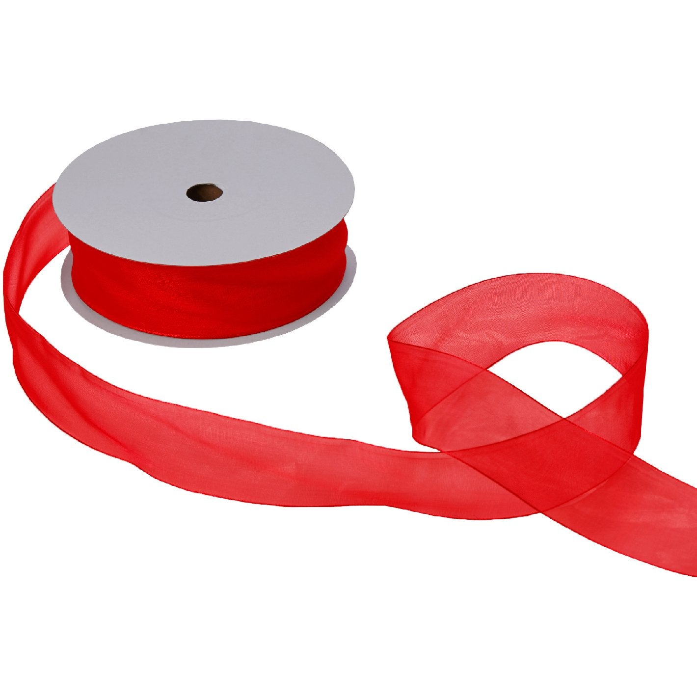 "Jillson & Roberts Organdy Sheer Ribbon, 1 1/2"" Wide x 100 Yards, Red"