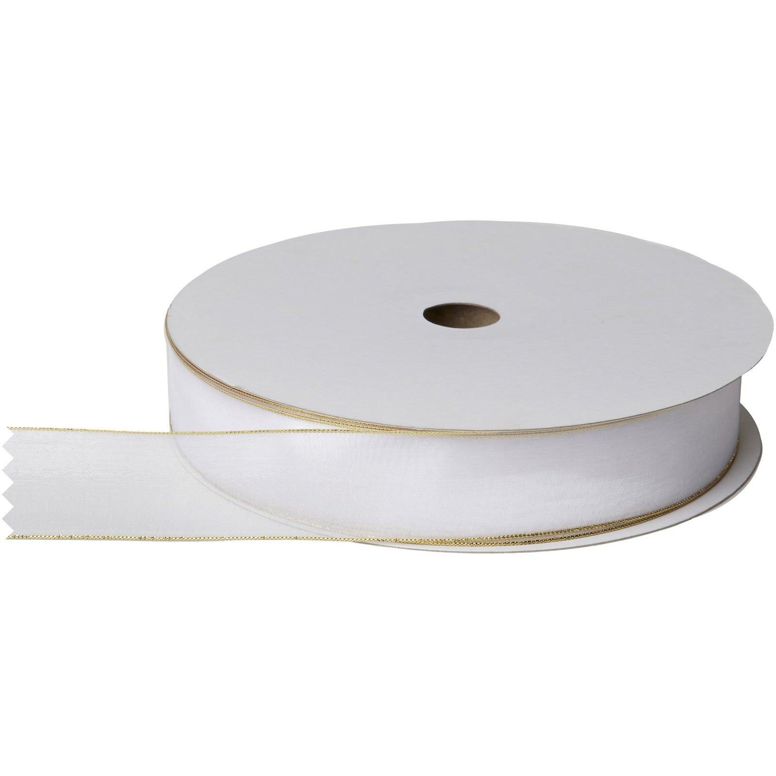 "Jillson & Roberts Organdy Sheer Wired Metallic Edge Ribbon, 1 3/8"" Wide x 100 Yards, White/Gold"