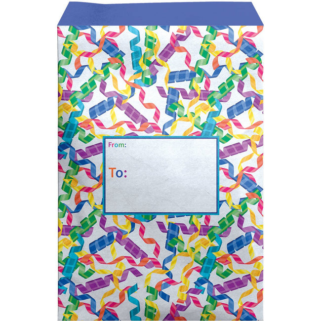 Large Birthday Printed Padded Mailing Envelopes, Streamers (12 Pcs)