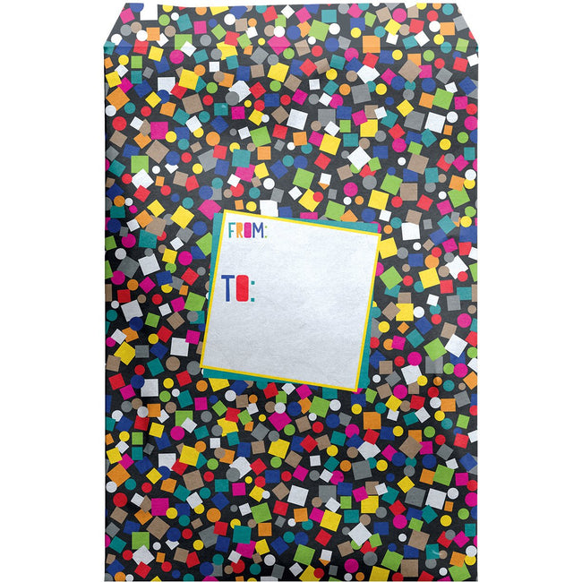 Large Birthday Printed Padded Mailing Envelopes, Black Confetti (24 Pieces)