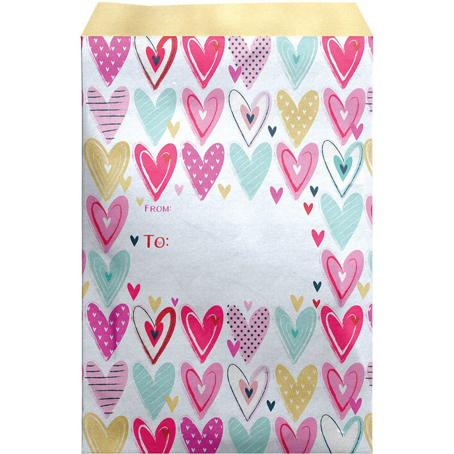 Large Valentine Printed Padded Mailing Envelopes, Pretty Hearts (12 Pcs)