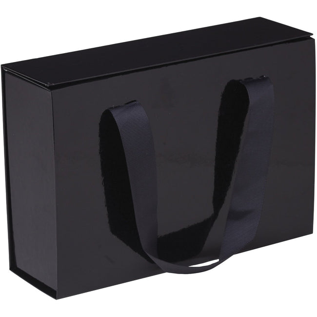 Jillson & Roberts Medium Gift Box with Handle & Magnetic Closure, Fashionista Black Gloss (12 Pcs)
