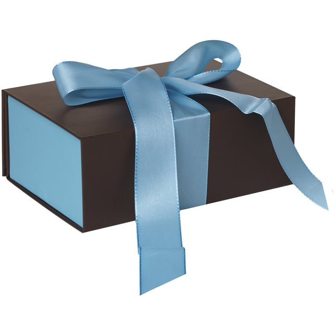 Jillson & Roberts Medium Gift Box with Ribbon Tie, Blue Espresso Matte (12 Pcs)