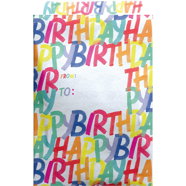 Medium Birthday Printed Padded Mailing Envelopes, Rainbow (24 Pieces)